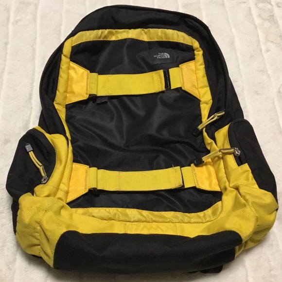 The North Face Large Backpack Black Yellow Hiking School